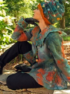 Seamless Teal and Orange Nuno Felted Jacket