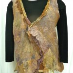 Sewn Tan and Brown Collaged nuno Felted Vest Ruffled front waist length