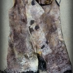 Tans/Beige Custom Print Nuno Felted Vest with fringe, hand painted silk fabric and merino wools