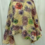Yellow Floral Nuno Felted Poncho seamless and reversible