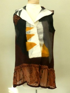Wet Felted Brown/White/Yellow Vest with Silk Border