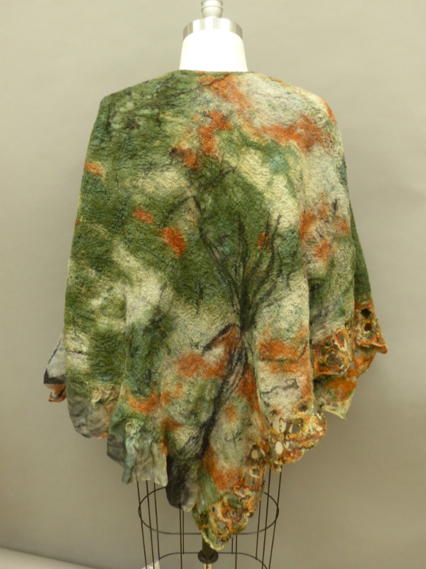 camouflage Nuno felted reversible poncho
