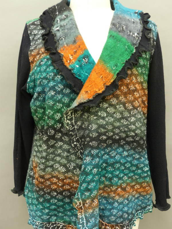 Nuno felted Sari Sweater Jacket Front Print side