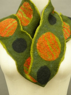 all woolOlive wet felted scarf with circles