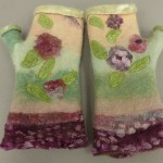 wet felted fingerless gloves angora/merino floral