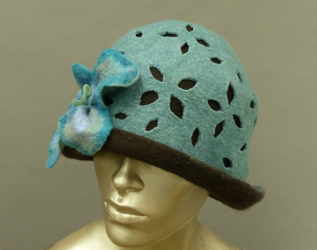 wet felted blue lace cloche
