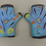 wet felted blue fingerless gloves