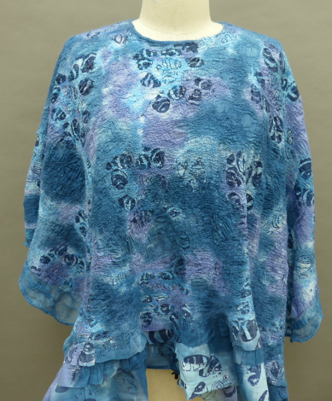 Wet felted Nuno blue print poncho