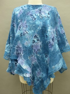 blue poncho long