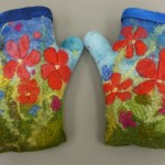 Floral wet felted fingerless gloves