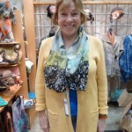 Cindy wearing her nuno felted scarf