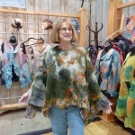 Shirley and her nuno felted shawl