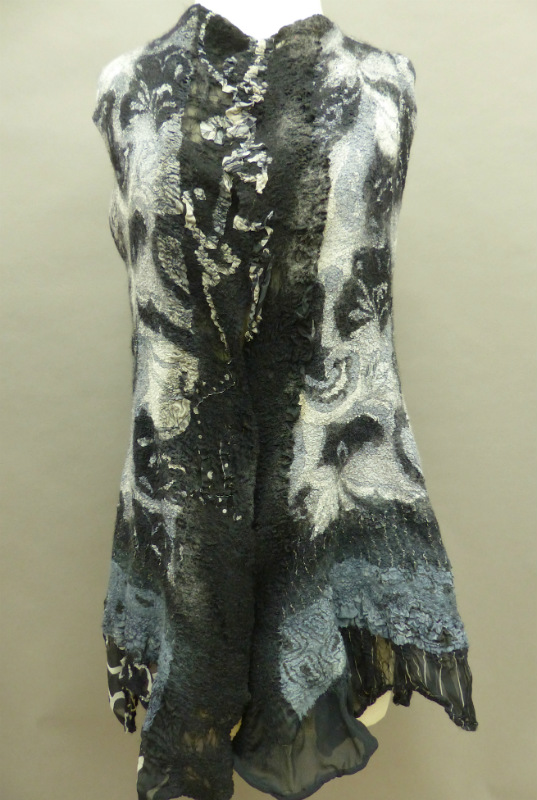 Black/White Print Nuno felted vest
