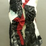 Nuno felted and leather vest black and white