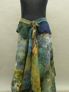 Nuno felted wrap skirt with leather in muted greens