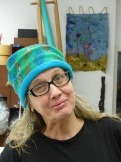 Making a wet felted hat