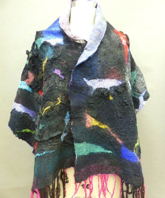 high texture nuno felted shawl
