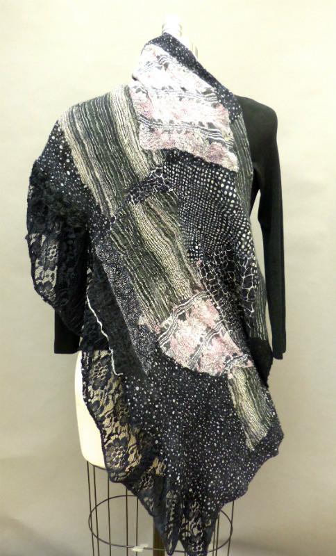 lace ruffle blackened pink shawl felted
