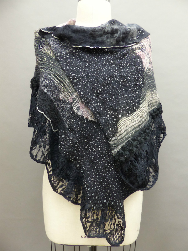 nuno felted black ruffled shawl