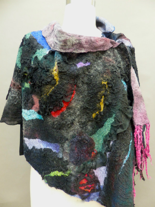black nuno felted shawl high texture