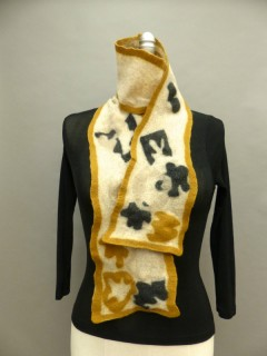 wet felted finn scarf black and tan