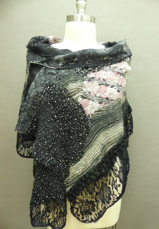 Black/pink nuno felted shawl