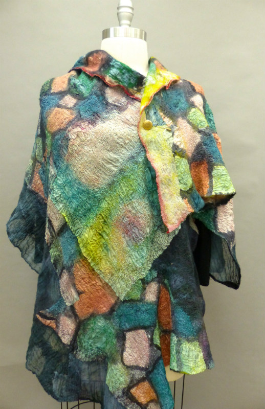 green pink orange felted shawl