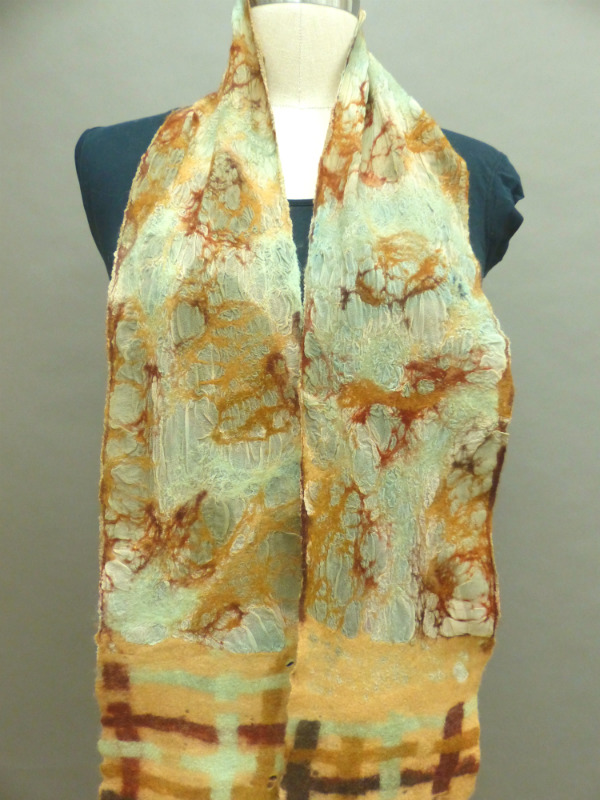 Super light weight Nuno sea foam and tan scarf