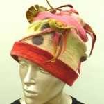 red pink sculptural wet felted hat