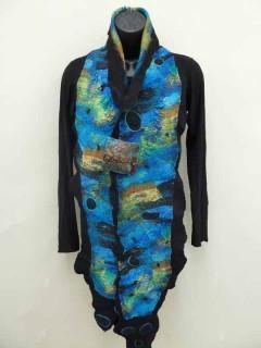 blue green printed silk scarf