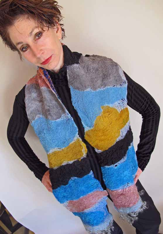 collaged blue gold coral scarf
