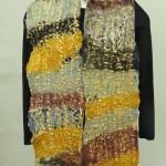 gold silk fiber scarf