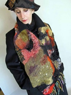 hi texture black and red scarf