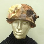 Apricot Dome Nuno Felt Hat with Flowers