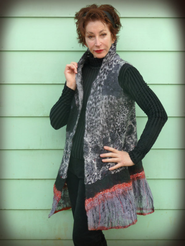 Black and White Nuno Felted Tunic hand painted silk fabrics and mixed black and white designs