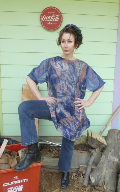 Blue and Rust Hand painted Thigh length Denim Nuno Felted Tunic