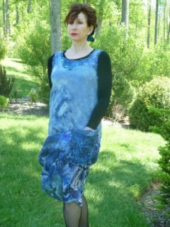 Nuno felted light blue jumper with hand painted organza bottom, and bead work neckline complete with pocket