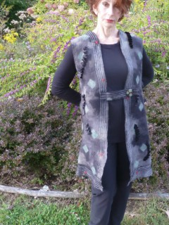 Gray Felt Tunic with open side panels full length square felt motifs machine stitched front