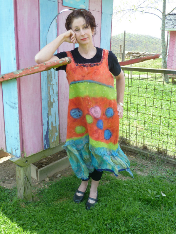 Orange Lime Green and Blue Nuno Felted Jumper designed with circles and yarns