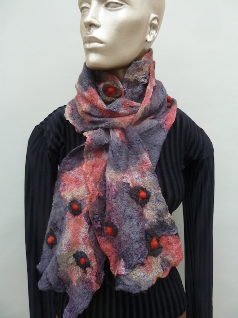 Grey and Red Nuno Scarf 3-dimentional wool and silk