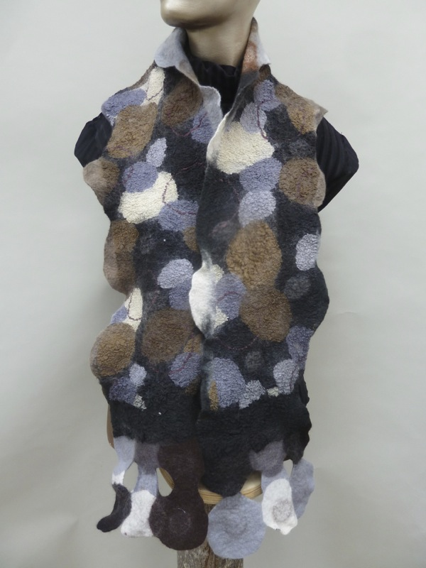 felted scarf circle motif nuno felted black gray white
