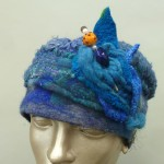 Embellished Blue Felt Hat with Yarns and glass bead hat pin