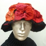 Red and Black Poppy Felt Hat