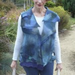 Blue Collaged Felted Vest sewn construction open sides hand dyed merino wool