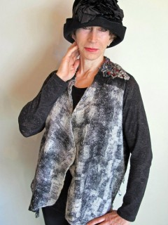 Black and White Vest Print Silk waist length, embellished with yarns