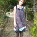 Nuno Felted black Dress with leather embellishments and silk fabric bottom