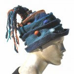Blue Felted Pom Pom Scrunch Hat with Tassles-