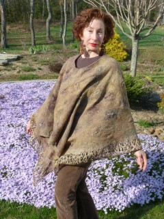 Brown and Tan Nuno Felted Poncho hand dyed silks and merino wools reversible seamless