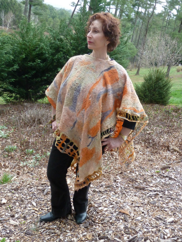 Coral and Orange Light weight Nuno Felted Poncho with hand dyed silks in abstract patterns