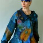 Multicolored Blue and Orange Nuno Felted Jacket